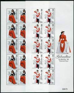 Gibraltar 760-763 sheets,MNH.Michel 834-837 klb. EUROPE-1998.Costumes.