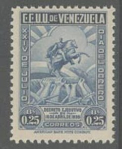 Venezuela 1938 25c Worker's Day Sc# 344 NH