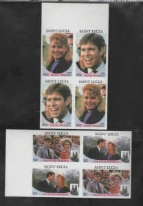 ST. LUCIA #839-840 1986 WEDDING PRINCE ANDREW MINT VF NH O.G BLOCK 4 IMP. aa
