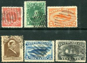 NEWFOUNDLAND-1887 New Colours/Values Set Sg 49-54 GOOD USED V30315