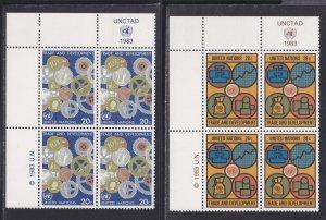 United Nations -New York #  397-398, Inscription Blocks of Four, NH, 1/3 Cat.