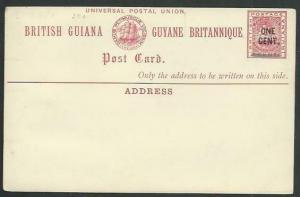 BR GUIANA QV ONE CENT on 3c ship type postcard fine unused.................61479