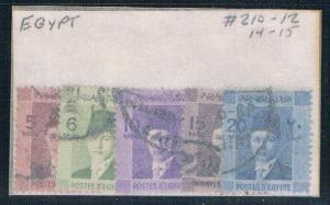 Egypt 210- Used Partial Set Scott nums Shown 1937 (E0060)
