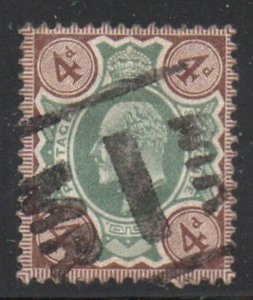Great Britain Sc 133 1904 4d gray brown & green Edward VII stamp used