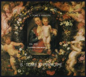 St Thomas & Principe 911 MNH Christmas, Art, Flowers, Madonna & Child