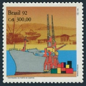 Brazil 2351 two stamps, MNH. Michel 2454. Port of Santos, centenary, 1992.