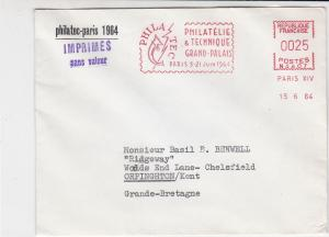 France 1964 Philatec Grand Palace Paris Stamps Fair Meter Mail Cover Ref 31932