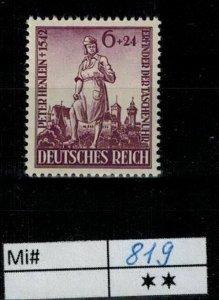 Deutschland Reich TR02 DR Mi 819 1939 Reich Postfrisch ** MNH