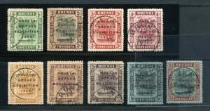BRUNEI  SCOTT#14b/37A, SG#51/59  MALAYA BORNEO EXHIBITION USED