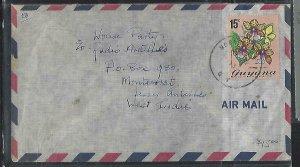 GUYANA  (P2808B) 1973   ORCHID 15C A/M TO MONTSERRAT