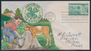 #1005-31 THE 4-H CLUBS ON HAND PAINTED WRIGHT FDC CACHET BT942