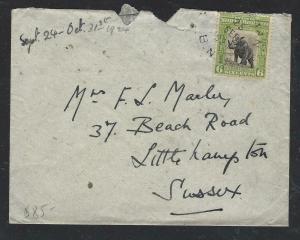 NORTH BORNEO COVER (P0804B) 1924 6C RHINO COVER SANDAKAN TO ENGLAND
