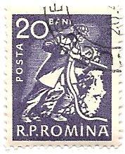 Romania 1352 (used) 20b miner, blue vio (1960)