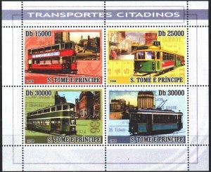 Sao Tome and Principe. 2008. Small sheet 3571-74. Trams. MNH.