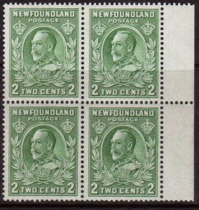 Newfoundland #186v Very Fine Mint Block Bottom Stamps Never hinged
