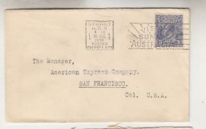 AUSTRALIA,1936 Bank NSW cover, KGV 3d. Blue,SYDNEY OVERSEAS BOX machine to USA