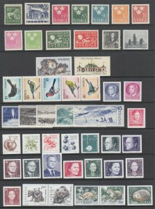 Sweden Sc 135/2509 MNH. 1925-2005 issues, 54 different singles, fresh, VF.
