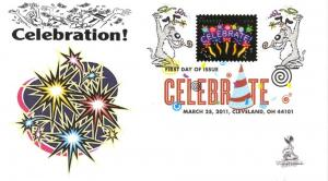 Neon Celebrate First Day Cover, with DCP postmark