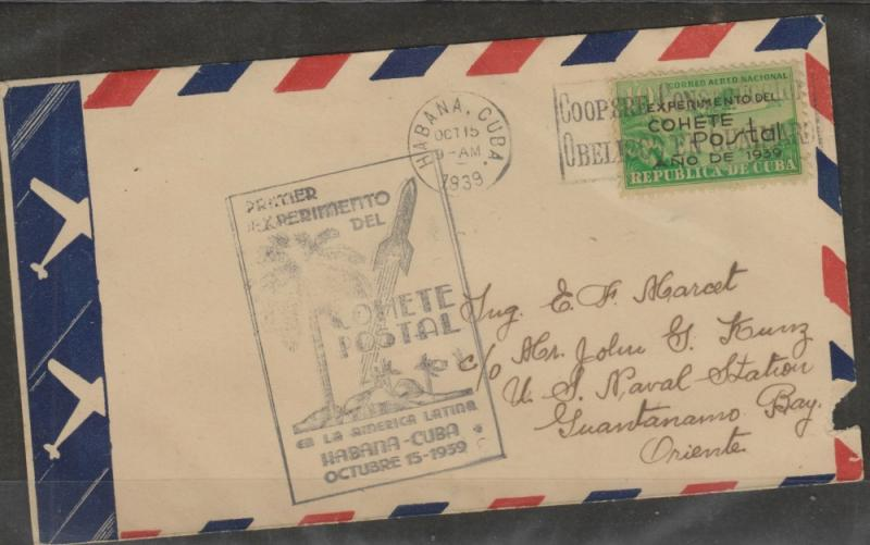 O) 1939 CARIBE, ROCKET FIRST EXPERIMENT, COVER TO GUANT