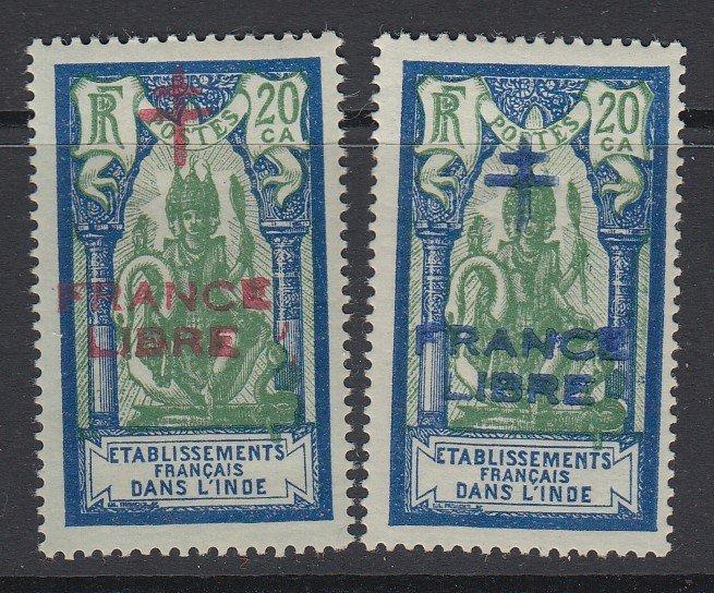 French India, Scott 163-164 (Yvert 182-182a), MHR