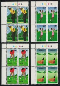 Kenya Golf 4v Top Right Corner Blocks of 4 SG#642-645