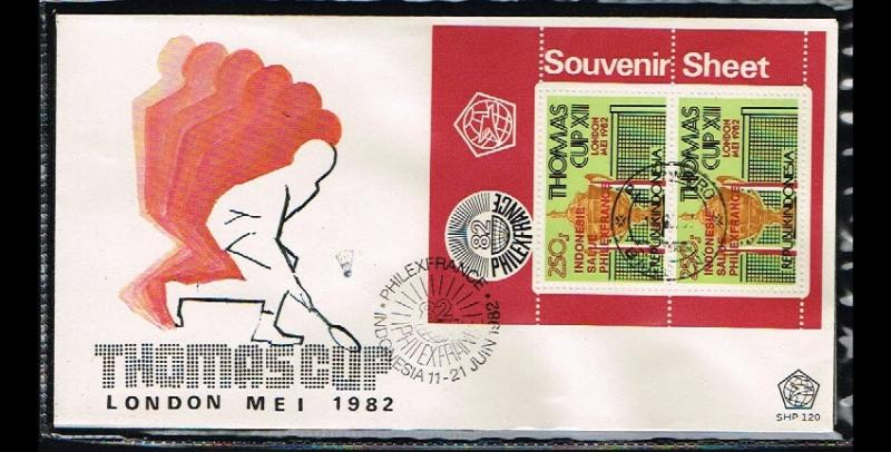 1982 - Indonesia FDC SHP 120_4 - Sport - Badminton - Thomas Cup - Philexfranc...