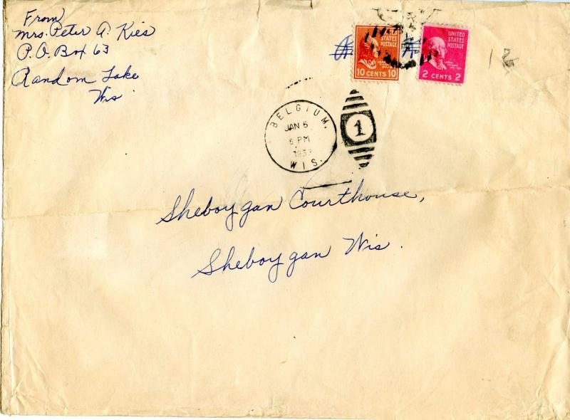 U.S. Scott 815 and 806 Prexies On 4X Weight 1953 1st Class Wisconsin Cover