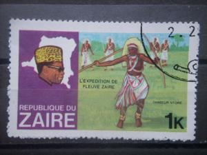 ZAIRE, 1979, used 1k, Pres. Mobutu & Map Scott 902