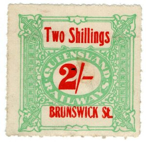 (I.B) Australia - Queensland Railways : Parcel Stamp 2/- (Brunswick Street)