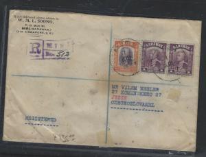 SARAWAK (PP0706B)  1937 REG COVER MIRI VIA SINGAPORE,PENANG, TO CZECHOSLOVAKIA
