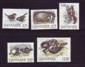 Denmark  Scott 1012-16 1994 Wild Animals stamp set mint NH
