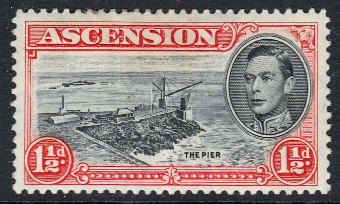 Ascension KGVI 1938 1.5d Black Vermilion SG40b Mounted Mint