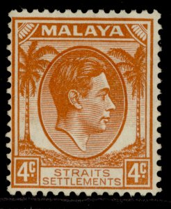 MALAYSIA - Straits Settlements GVI SG280, 4c orange, M MINT. Cat £35.