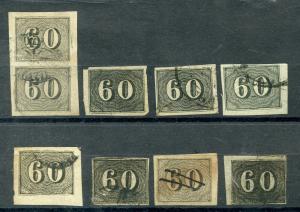 Brasile Scott#24 Lotto Of 9 Usato Tonalità W/Multiple As Foto Catalogo Valore