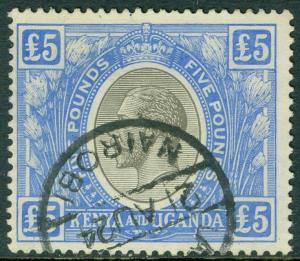 EDW1949SELL : KENYA U & T 1922-27 Sc #41 VF, Used w/neat revenue cancel Cat $375