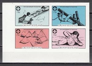 Grunay, Scotland Local. 1982 issue. Scout Anniversary on an IMPERF sheet of 4. ^