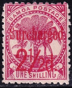 UK British Colonies & Territories SAMOA STAMP 1898 Surcharged in Red mhr