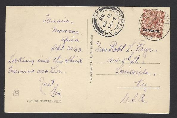 GREAT BRITAIN OFFICES IN MOROCCO TANGIER 1933 1 1/2d Scott 503 on Picture PC