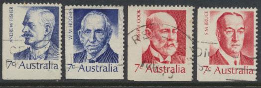 SG 505-508  Fine Used  Famous Australians  4th Series - bottom left imperf ma...