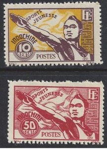 Indo-China #241-2 MNH set, athlete giving Olympic salute, issued 1944
