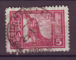 J21527 Jlstamps 1929 italy Rhodes used #22 crusader $140.00 scv perf damage top