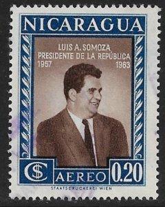NICARAGUA 1957 20c PRESIDENT LUIS SOMOZA  Airmail Sc C387 VFU
