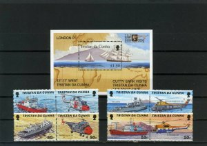 TRISTAN DA CUNHA 2000 SHIPS & HELICOPTERS SET OF 8 STAMPS & S/S MNH