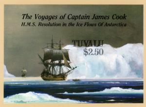 Tuvalu 1988 Sc#496 Voyages Cap.Cook/Ships  S/S IMPERFORATED MNH