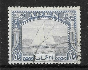 ADEN SG7 1937 3½a GREY-BLUE DHOW FINE USED