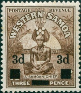 Samoa 1940 SG199 3d on 1½d brown Chief MNH
