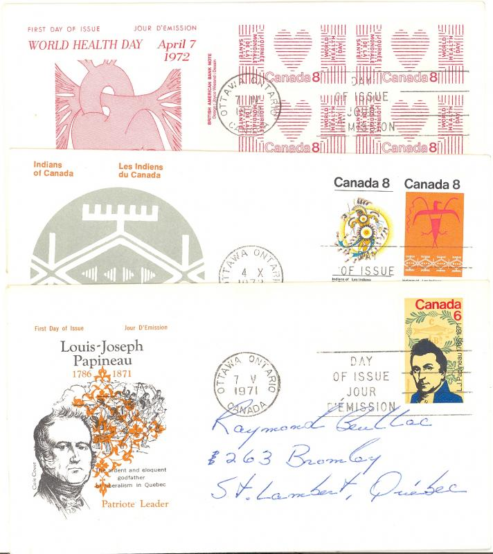 Canada  3  First day covers two are unaddressed