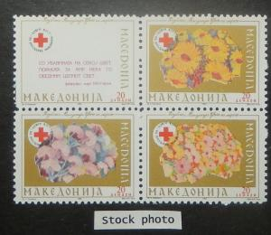 Macedonia RA24-27. 1993 Red Cross Fund, se-tenant block, NH