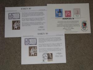 US Souvenir Cards NORDPOSTA 76 & ESSEN 80, both Cancelled at the Show