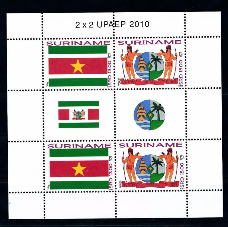 [SUV1741] Surinam Suriname 2010 Flag Coat of arms Miniature Sheet with tab MNH